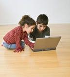 计算机开玩笑膝上型计算机二 免版税图库摄影