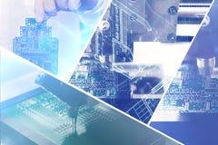 计算机拼贴画上与在一个未来派样式的视觉效果 现代和未来技术的概念 免版税图库摄影