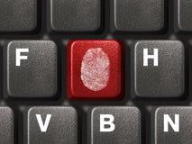 计算机指纹关键董事会 图库摄影