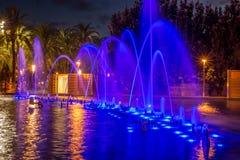 计算机控制学的喷泉在萨洛角,卡塔龙尼亚 免版税库存照片