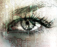计算机控制学的眼睛 免版税库存图片