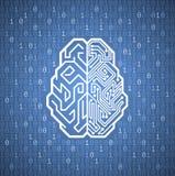 计算机控制学的脑子 向量例证