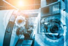 计算机控制有数字控制的盘区车床与抽象未来派, 3d白皮书在电路板的链轮 库存例证