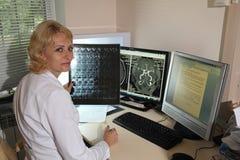 计算机控制X线断层扫描术实验室 计算机化的轴向X线体层照相术CAT 库存图片