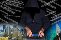 计算机数字黑客膝上型计算机抽签屏幕使用 图库摄影