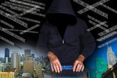计算机数字黑客膝上型计算机抽签屏幕使用 免版税库存图片