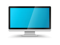 计算机显示器与空白的蓝色屏幕的hd显示器 库存图片