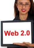 计算机显示社会web2的媒体消息 免版税库存照片