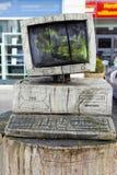 计算机桌面老木头 库存图片
