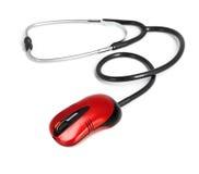 计算机概念医疗鼠标在线听诊器 免版税库存照片