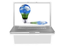 计算机概念能源绿色膝上型计算机 库存图片