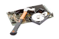 计算机毁坏的锤子 免版税库存图片