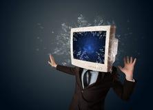 计算机爆炸在的显示器屏幕年轻人朝向 库存照片