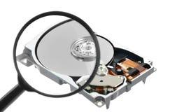 计算机玻璃harddrive扩大化  库存图片
