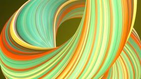 色的扭转的形状 计算机生成的抽象几何3D回报圈动画 HD?? 皇族释放例证