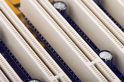 计算机电路板插口特写镜头 免版税库存图片