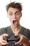 计算机疯狂的gamer 免版税库存照片