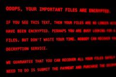 计算机病毒佩蒂娅 A 锁屏幕 免版税库存照片