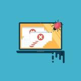 计算机病毒 计算机感染,那里是很多报警信息 免版税库存照片