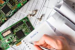 计算机的修理的计划 免版税库存照片