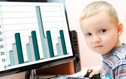 计算机的男孩 库存图片