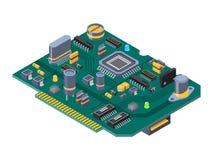 计算机的硬件设备 半导体、电容器和芯片 皇族释放例证