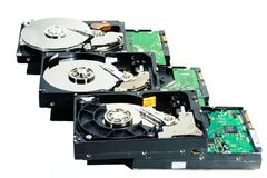 计算机的硬盘在白色背景 库存图片
