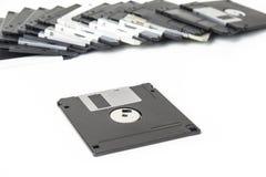 计算机的老软盘在白色 免版税库存图片