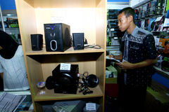 计算机的伴音系统 免版税库存图片