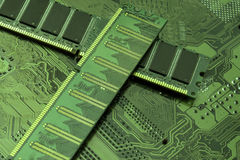 计算机硬件主板和随机存取存储器芯片 免版税图库摄影