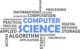 计算机科学词的云彩- 图库摄影