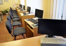 计算机类在农村学校 免版税库存图片