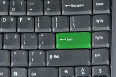 计算机绿色关键关键董事会 库存图片
