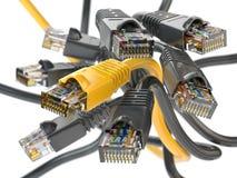 计算机网络LAN缆绳rj45 Imternet连接选择c 库存例证