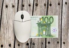 计算机老鼠和一百欧元钞票 免版税库存图片