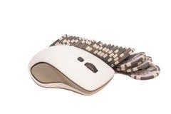 计算机老鼠和堆赌博的芯片 网上互联网casin 库存图片