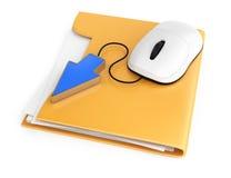 计算机老鼠和游标在文件夹 库存图片