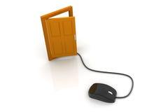 计算机老鼠和门 免版税库存图片