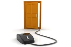 计算机老鼠和门 免版税库存照片