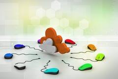 计算机老鼠被连接到云彩 免版税库存图片