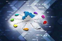 计算机老鼠被连接到云彩 图库摄影