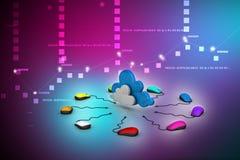 计算机老鼠被连接到云彩 免版税图库摄影