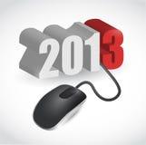 计算机老鼠被连接到2013年例证 免版税库存图片