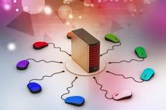 计算机老鼠被连接的服务器 库存照片