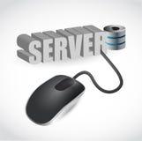 计算机老鼠连接了到蓝色词服务器 免版税库存照片