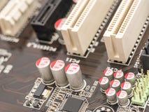 计算机芯片电容器和电阻器 库存照片