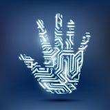以计算机芯片的形式人的手 免版税库存照片