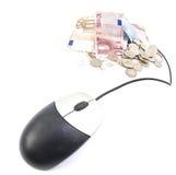 计算机被连接的货币鼠标 免版税图库摄影
