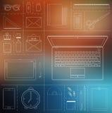计算机设备、办公室对象和企业运作的元素 免版税图库摄影