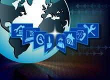计算机设备的蓝色背景保护 免版税库存图片